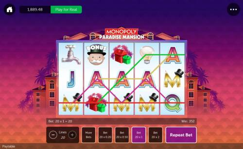 Monopoly Paradise Mansion Review Slots a 352.00 big win.