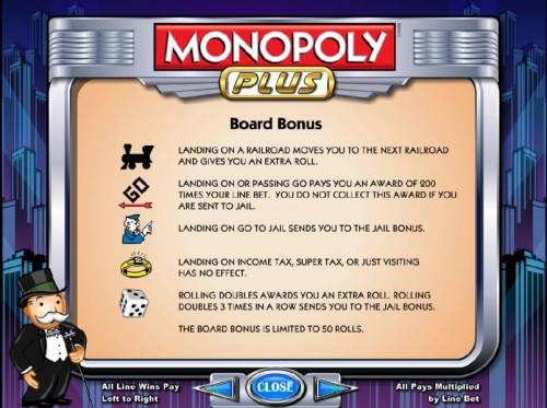 Monopoly Plus Review Slots board bonus is limited to 50 rolls