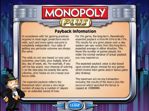 Monopoly Plus Review Slots payback information 94.03% to 96.71%