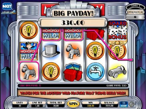 Monopoly Plus Review Slots three wild symbols lead to 330 coin big payday
