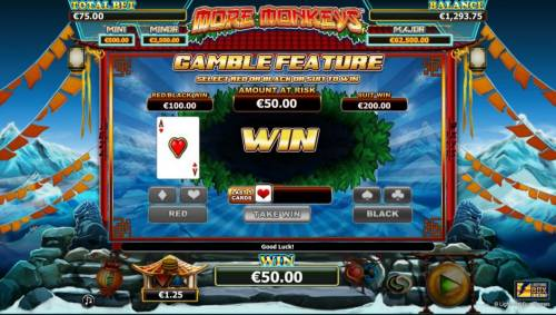 More Monkeys Review Slots Gamble feature - Select red or black or suit to win.