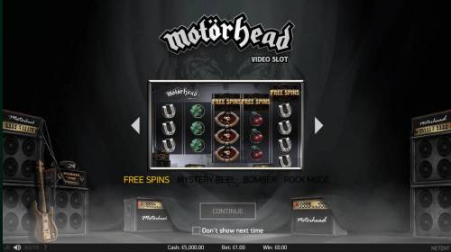Motorhead Review Slots features include Free Spins, Mystery reel, Bomber Feature and Rock Mode.