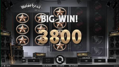 Motorhead Review Slots A 3800 coin big win triggered by multiple winning paylines.