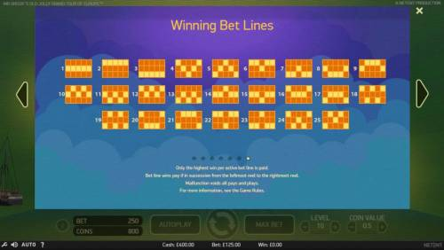 Mr. Green's Old Jolly Grand Tour of Europe Review Slots Payline Diagrams 1-25. Only the highest win per active bet line is paid. Bet line wins pay if in succession from the leftmost reel to the rightmost reel.