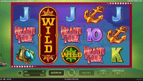 Mr. Green's Old Jolly Grand Tour of Europe Review Slots Expanded Wild on reel 2 triggers a 4 of a kind and a big win.