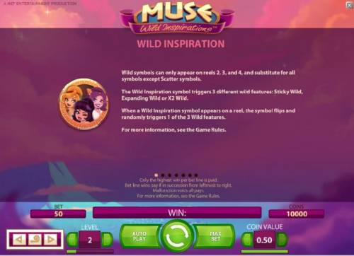 Muse Review Slots wild inspiration - the wild inspiration symbol triggers 3 different wild features: sticky wild, expanding wild and x2 wild