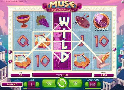 Muse Review Slots expanding wild combines with multiple symbols to trigger a $300 coin payout
