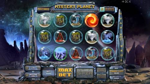 Mystery Planet Review Slots Main game board featuring five reels and 20 paylines with a $100,000 max payout.