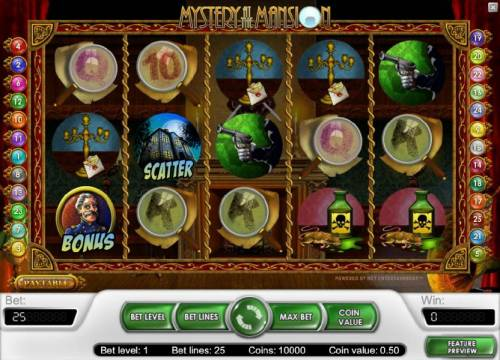 Mystery At The Mansion Review Slots main game board featuring five reels and 25 paylines