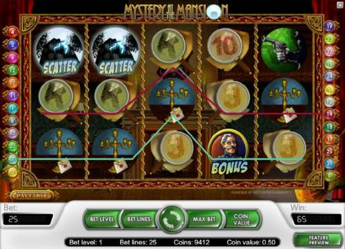 Mystery At The Mansion Review Slots multiple winning paylines triggers a 65 coin payout