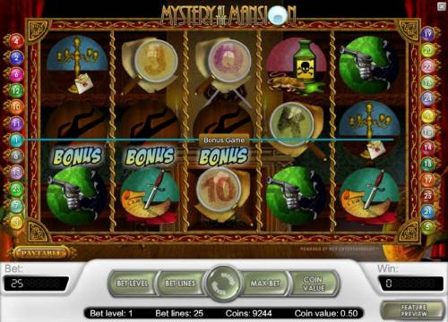 Mystery At The Mansion Review Slots bonus feature triggered