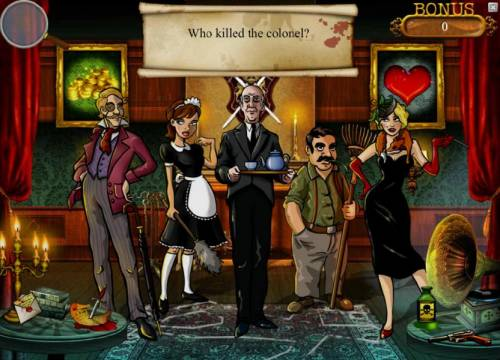 Mystery At The Mansion Review Slots who killed the colone? select a suspect