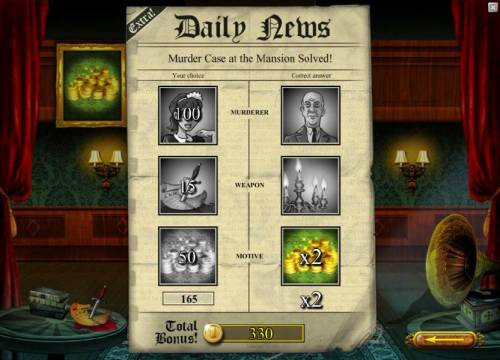 Mystery At The Mansion Review Slots bonus game recap - a total of 330 coins was awarded