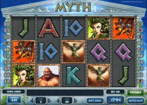 Myth Review Slots main game board featuring five reels, twenty paylines and a 5000x max payout