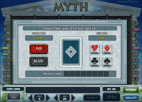 Myth Review Slots gamble feature game board - choose color or suit for a chance to increase your winnings