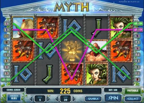 Myth Review Slots multiple winning paylines trigger a 225 coin jackpot