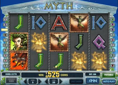 Myth Review Slots three scatter symbols triggers a 525 coin big win payout