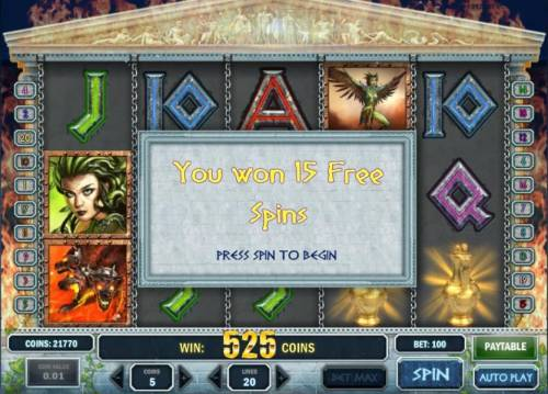 Myth Review Slots three scatter symbols triggers 15 free spins