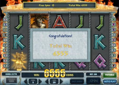 Myth Review Slots the free spins bonus feature paid out a total win of 6555 coins