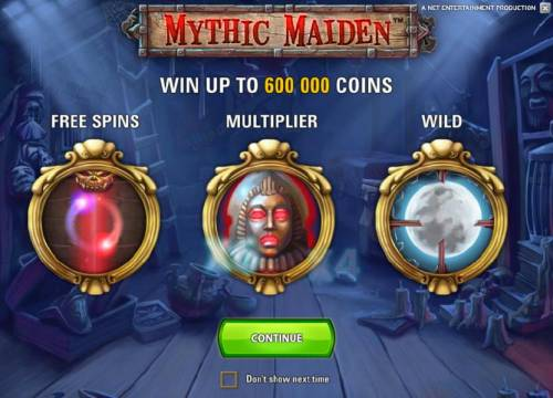 Mythic Maiden Review Slots game features a chance to win up to 600000 coins, free spins multiplers and wilds