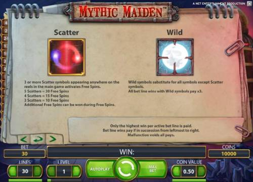 Mythic Maiden Review Slots scatter and wild symbols rules