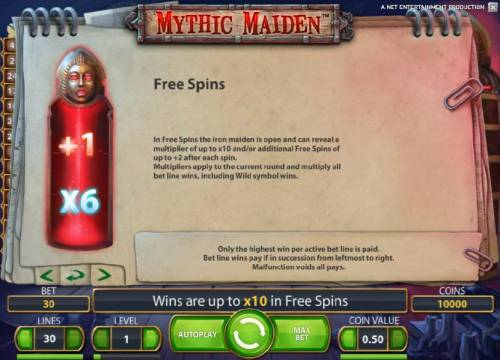 Mythic Maiden Review Slots free spins game rules