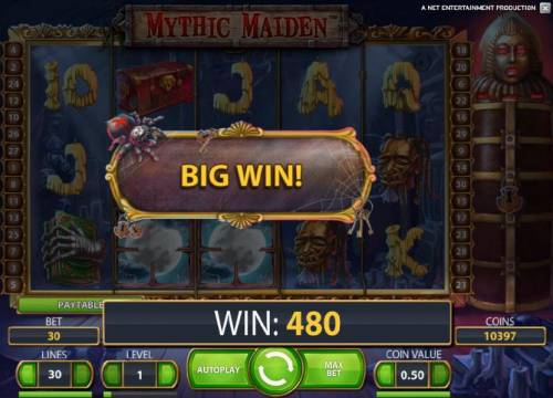 Mythic Maiden Review Slots 480 coin big win payout triggered by a couple of wild symbols