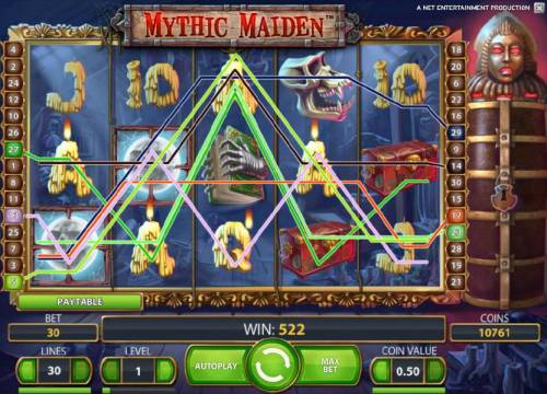 Mythic Maiden Review Slots 522 coin jackpot triggered by multiple winning paylines