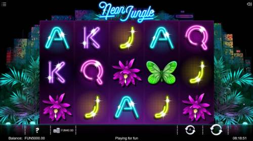 Neon Jungle Review Slots Main game board featuring five reels and 20 paylines with a $118,200 max payout.