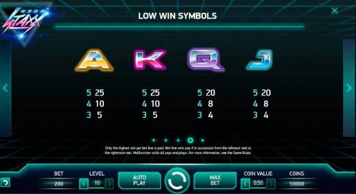 Neon Staxx Review Slots Low value game symbols paytable