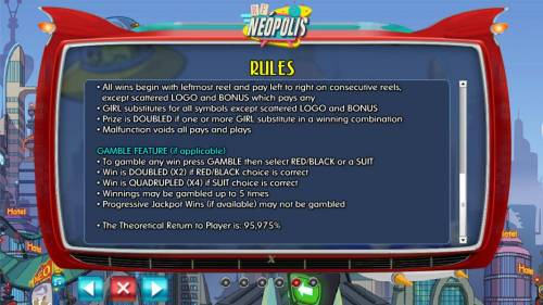 RF Neopolis Review Slots Gamble feature rules - The theoretical return to player is : 95.975%