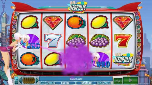 RF Neopolis Review Slots Extra Wild Bonus - Girl appears on screen and changes random symbol