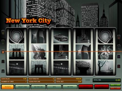 New York City Review Slots main game board featuring five reels and nine paylines