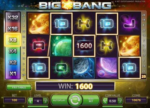 Big Bang Review Slots five of a kind triggers a 1600 coin payout