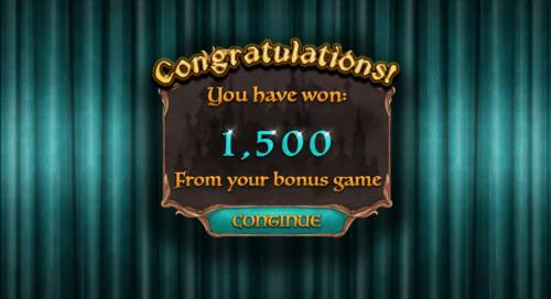 Nights of Fortune Review Slots Bonus feature awards player with 1,500 coins.