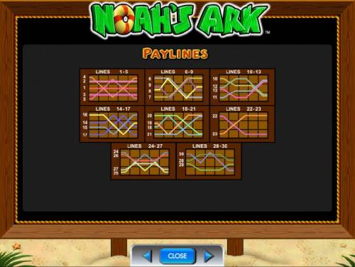 Noah's Ark Review Slots payline diagrams