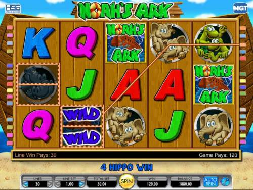 Noah's Ark Review Slots here is an example of two split symbols triggering a 120 coin jackpot