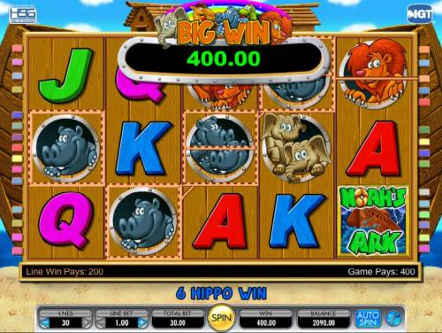 Noah's Ark Review Slots six hippos trigger a 400 coin big win payout