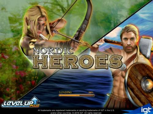 Nordic Heroes Review Slots Splash screen - game loading - Based on a viking theme.