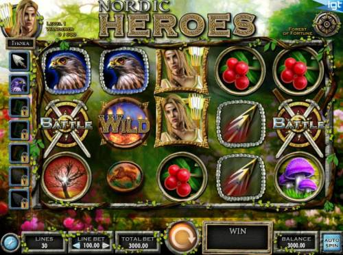Nordic Heroes Review Slots Main game board featuring five reels and 30 paylines with a $450,000 max payout