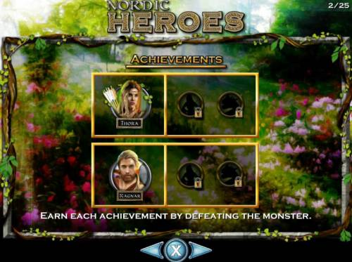 Nordic Heroes Review Slots Earn each achievement by defeating the monsters.