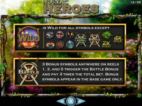 Nordic Heroes Review Slots Wild symbol and exceptions. Shield and crossed swords bonus scatter symbol. 3 bonus symbols anywhere on reels 1, 3 and 5 trigger the Battle Bonus and pay 2 times the total bet. Bonus symbols appear in the base game only.