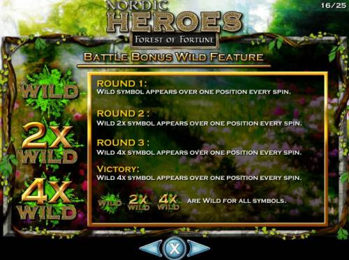 Nordic Heroes Review Slots Bonus Battle Wild Feature. Round 1 Wild only appears over one position every spin. Round 2 Wild 2x appears over one position every spin. Round 3 Wild 4x symbol appears over one position every spin.