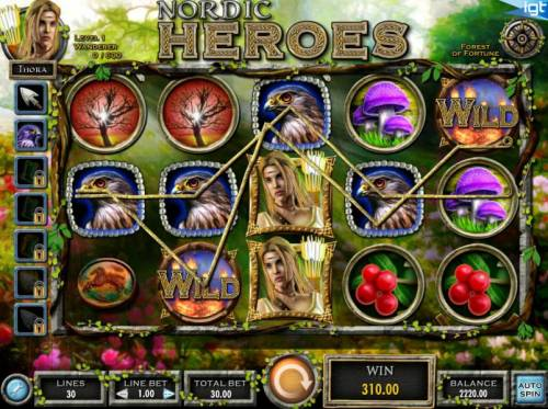 Nordic Heroes Review Slots A five of a kind along with another win line triggers a 310.00 big win.