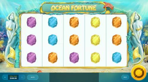 Ocean Fortune Review Slots Main game board featuring five reels and 20 paylines with a $12,500 max payout.