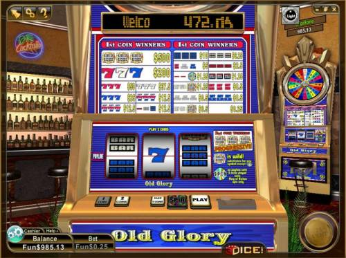 Old Glory Review Slots main game board featuring 3 reels and a single payline