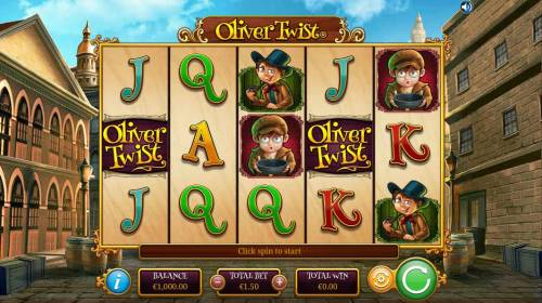 Oliver Twist Review Slots Main game board featuring five reels and 30 paylines with a $5,000 max payout.