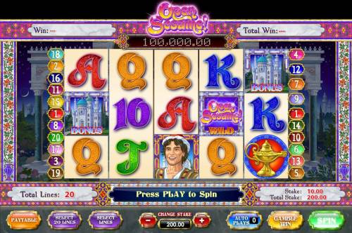 Open Sesame Review Slots Main game board featuring five reels and 20 paylines with a progressive jackpot max payout