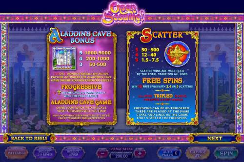 Open Sesame Review Slots Aladdins Cave Bonus and Free Spins game rules