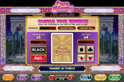 Open Sesame Review Slots Gamble feature game board is available after every winning spin. For a chance to increase your winnings, select the correct color or suit of the next card or take win.